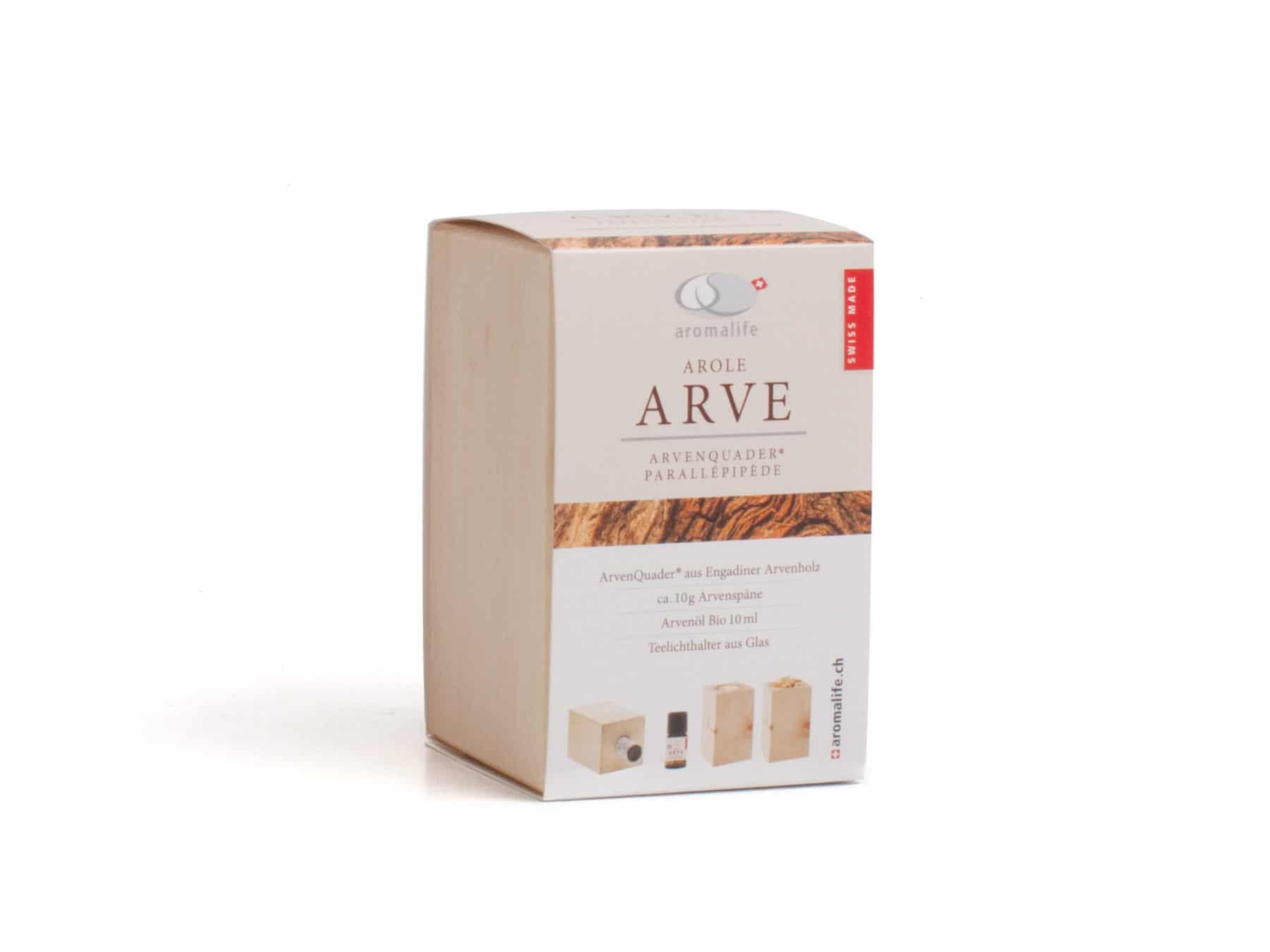Arven Quader Arvenoel Bio-Arvenöl Arven-Set aromalife KURTs.ch