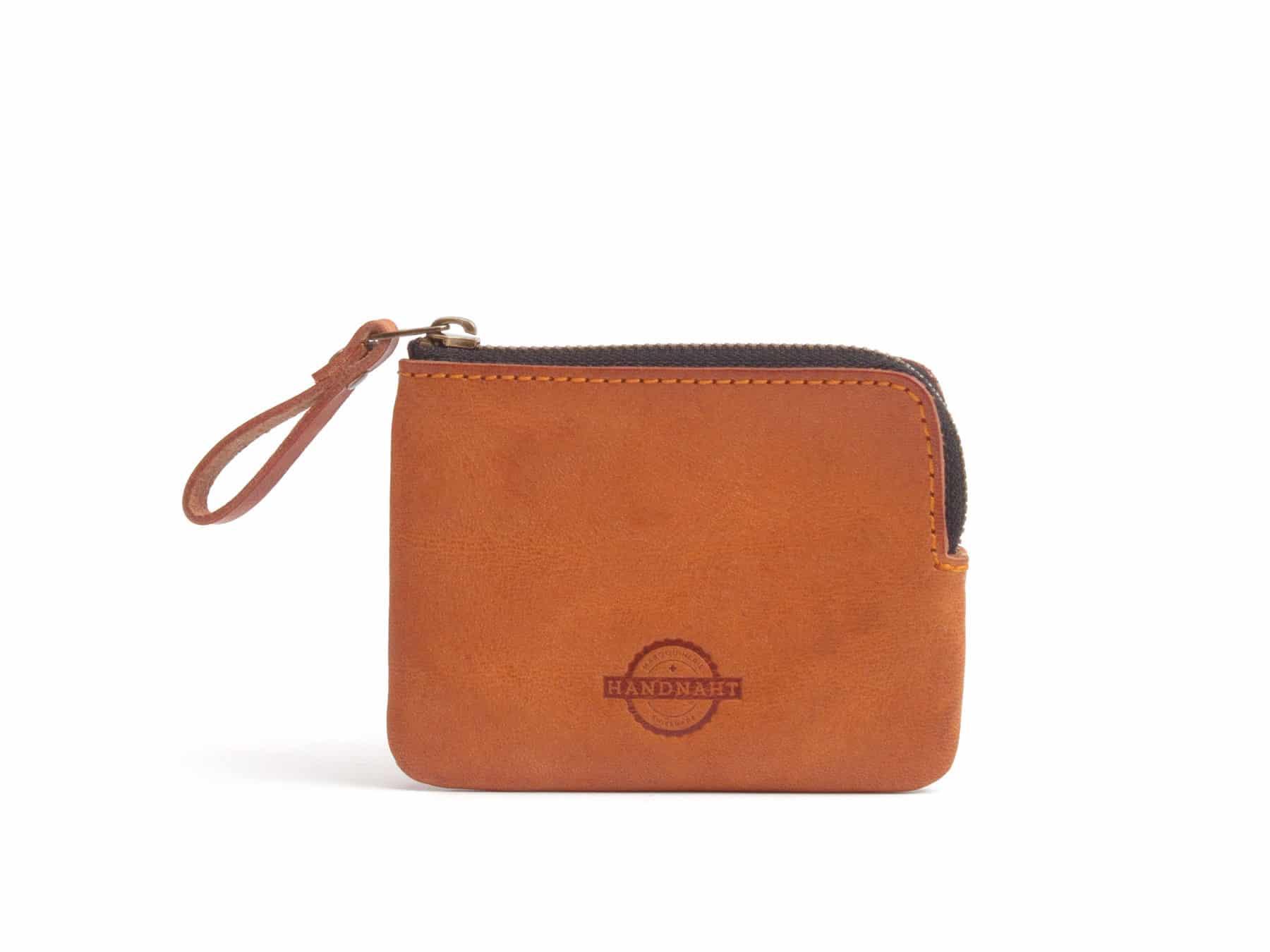 Leder Portemonnaie Brieftasche Leder Schweiz Handnaht Cognac KURTS.ch
