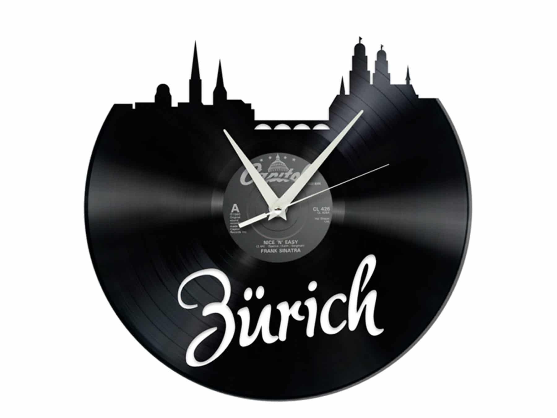 Schallplattenuhr Zürich Schweiz Upcycling Recycling KURTS.ch