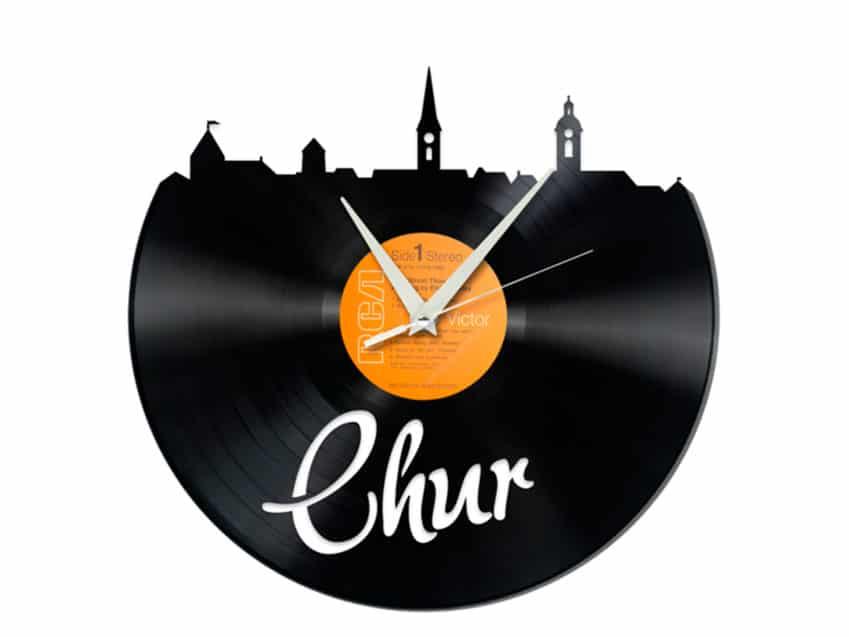 Schallplattenuhr Chur Schweiz Upcycling Recycling KURTS.ch