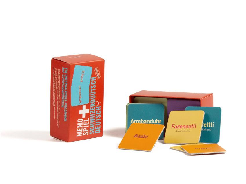Memory Spiel Memo-Spiel Schwiizerduetsch Wortpaare Fidea Design swiss made KURTS.ch