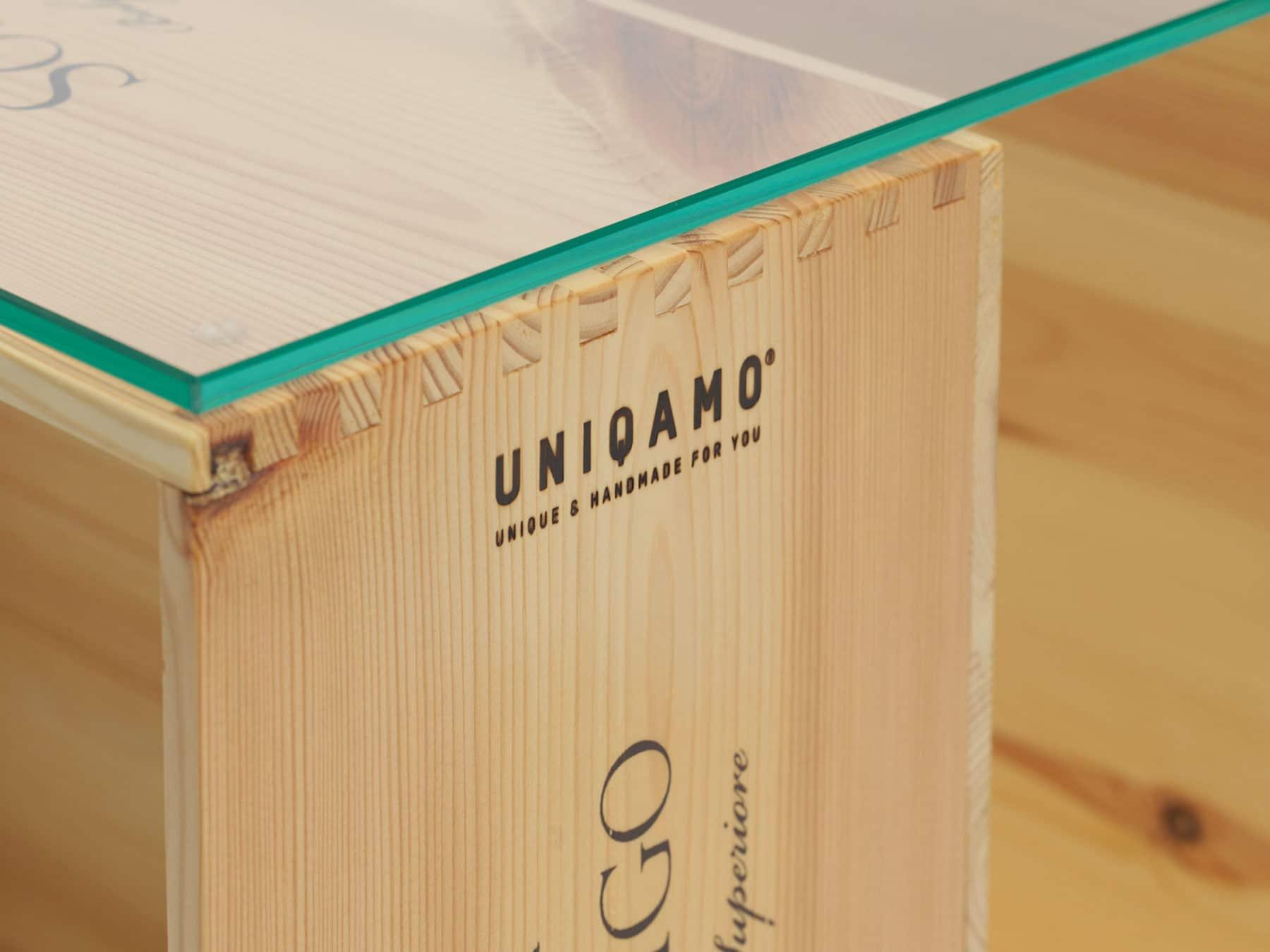 Uniqamo Beistelltisch Rollen Classic 6 gebrauchte Weinkisten Upcycling3