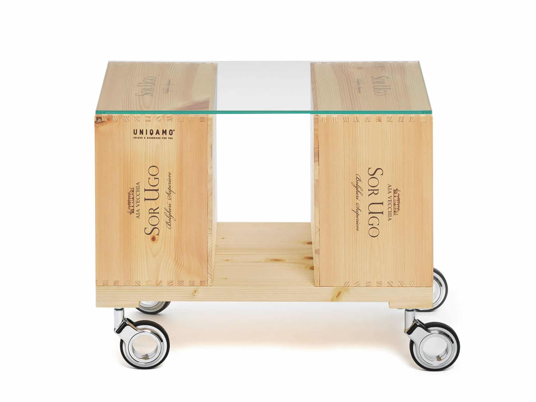 Uniqamo Beistelltisch Rollen Classic 6 gebrauchte Weinkisten Upcycling