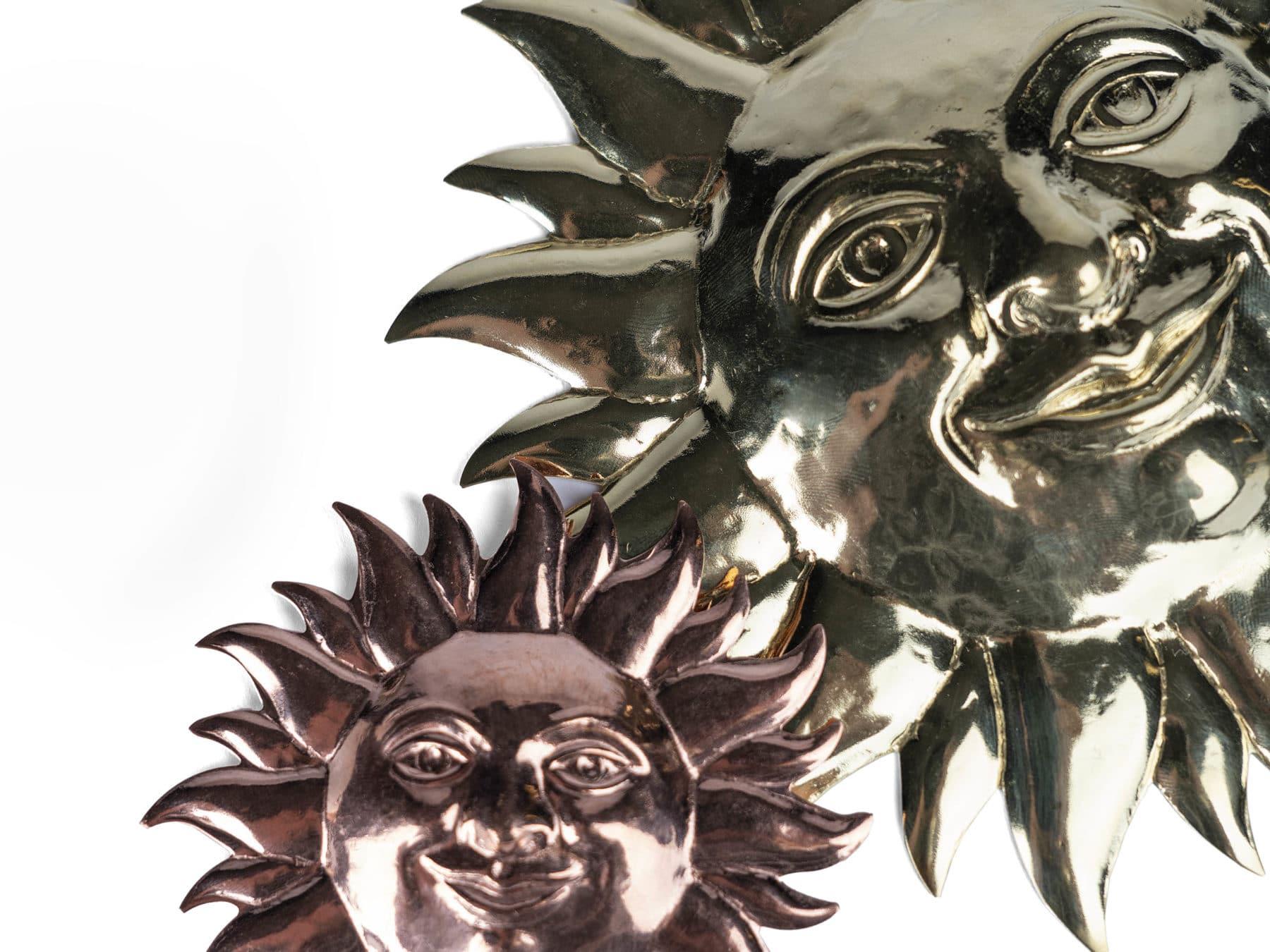 Deko Wanddeko Sonne Messing swissmade handmade KURTS.ch Kupfer
