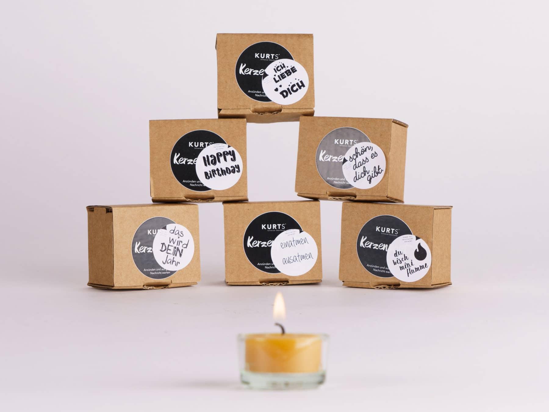 Teelicht Botschaft Message Candle Kurts Kerzenpost swiss