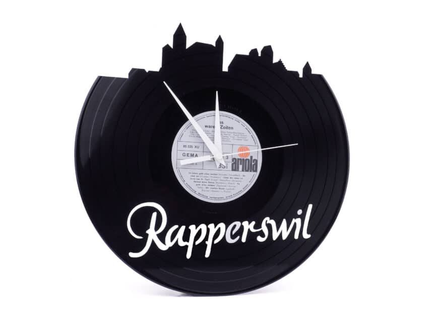 Schallplattenuhr Upcycling Stadt Rapperswil limited edition Kurts.ch